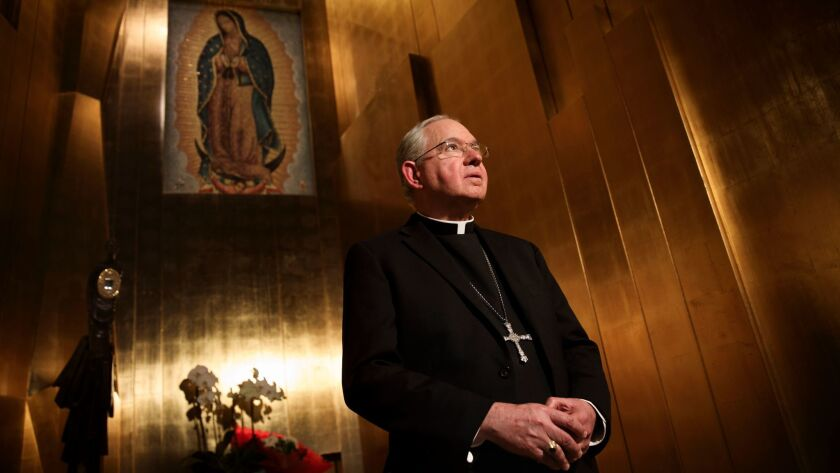 Los Angeles Archbishop Jose H. Gomez stands for a portrait at the Cathedral of Our Lady of the Angels on Monday, November 21, 2016 in Los Angeles.