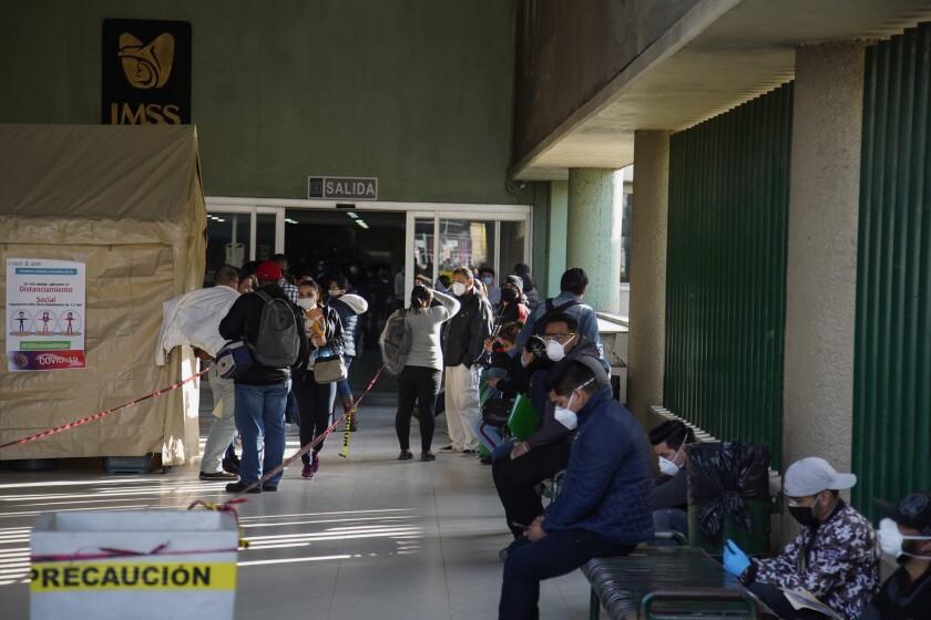 Tijuana hospitals overwhelmed by coronavirus patients scene outside Regional General Hospital and IMSS Clinica 20.