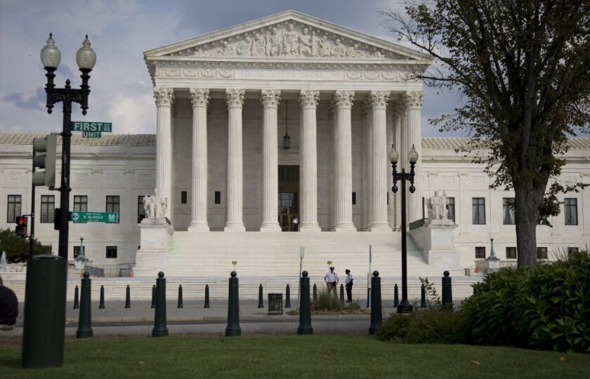 The U.S. Supreme Court building in Washington in September. The justices will hear a case on judicial elections.
