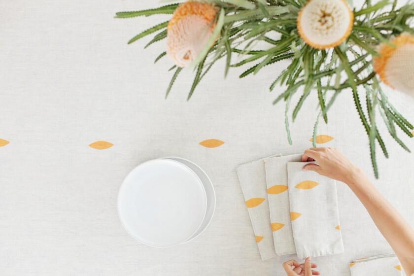 Rachel Craven's linen tablecloth with leaf design.