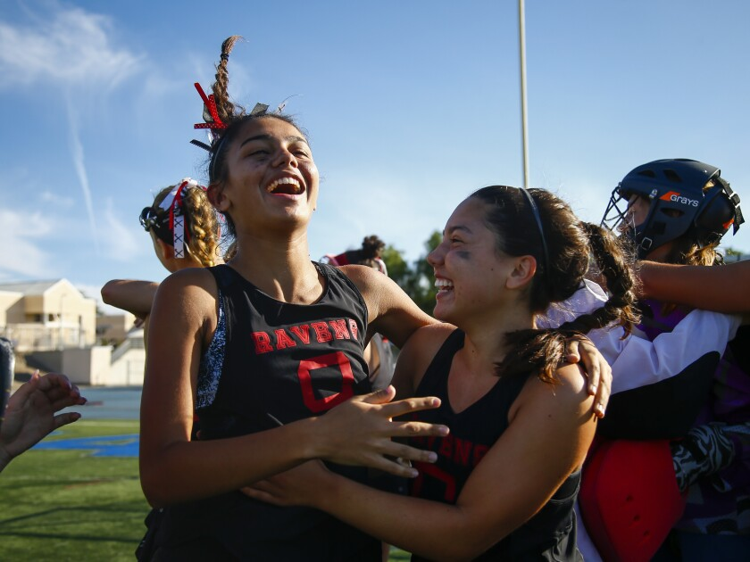 Canyon Crest players savor their San Diego Section Division I championship last season.