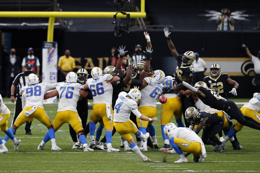 Chargers kicker Mike Badgley attempts a field goal that was no good.