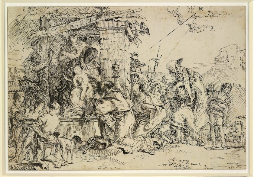 "Giovanni Domenico Tiepolo, ""The Adoration of the Magi,"" ca. 1760. Pen and gray and black ink."