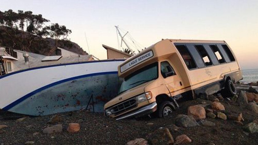 Huge surf causes damage at Catalina