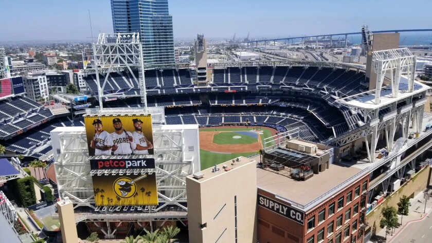 The view from Altitude, a restaurant and bar at the Marriott San Diego Gaslamp Quarter that overlooks Petco Park.