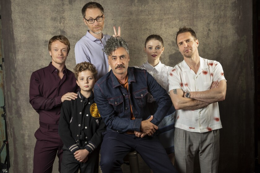 Actors Alfie Allen, Roman Griffin Davis and Stephen Merchant, Actor Director Taika Waititi and Actors Thomasin McKenzie and Sam Rockwell from the Jojo Rabbit film, photographed at the L.A Times Photo Studio at the 2019 Toronto International Film Festival.