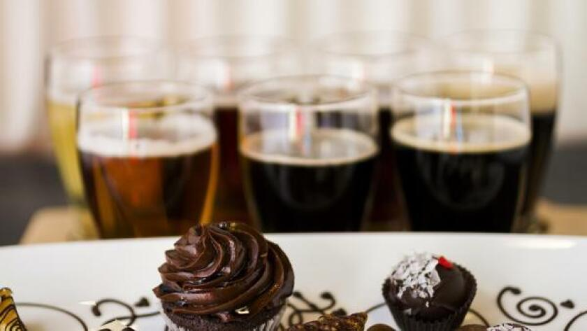 Beer taster glasses to pair with chocolate desserts