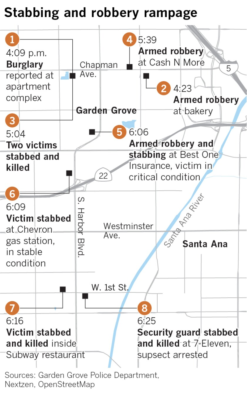 Map of stabbings and robberies in Orange County
