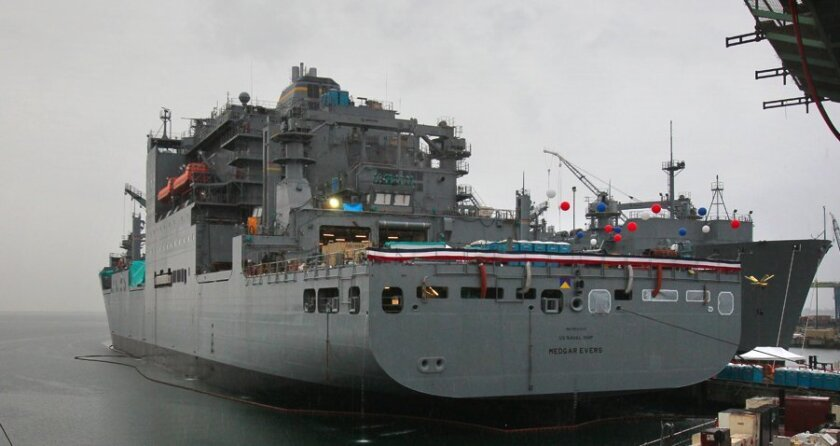 The $500 million USNS Medgar Evers is the 13th of 14 Lewis and Clark-class dry cargo ships that NASSCO is building for the Navy. The ship was launched on Oct. 29th and christened on Nov. 12th.