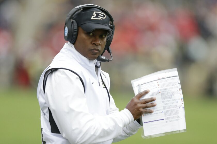 Purdue head coach Darrell Hazell stands on the sideline during the first half of an NCAA college football game against Nebraska in West Lafayette, Ind., Saturday, Oct. 31, 2015. (AP Photo/Michael Conroy)