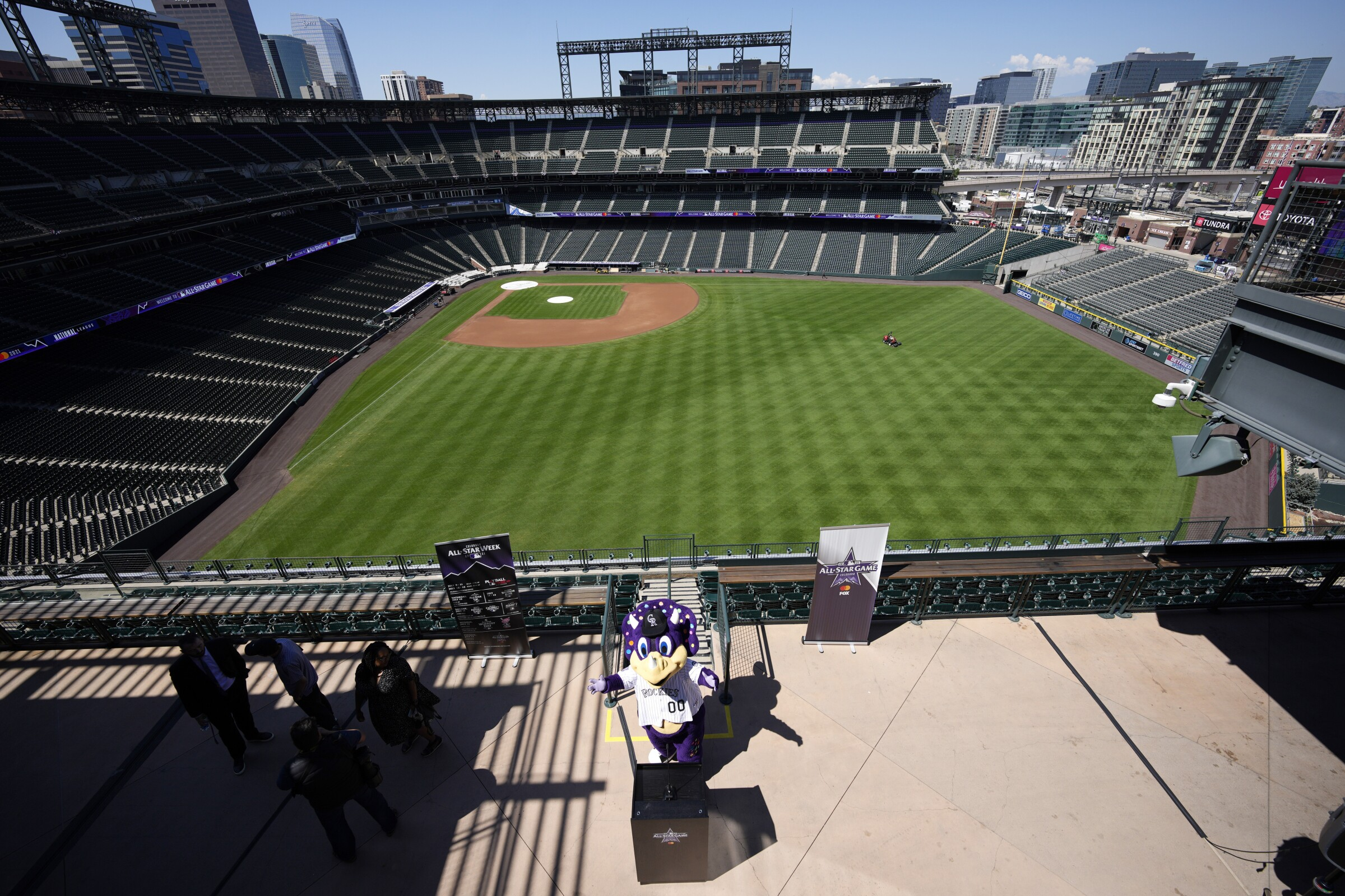 Dinger, mascot of the Colorado Rockies, at a news conference at Coors Field.