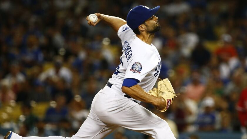 Dodgers relief pitcher Scott Alexander faced three batters in the first round of the playoffs.