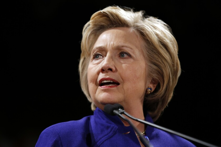 Hillary Clinton speaks at a rally at the Hilton Hotel in Manhattan on April 18.