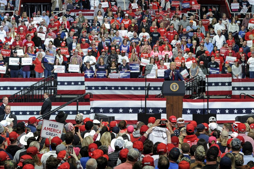 President Trump speaks during a campaign rally in Charlotte, N.C., in March.