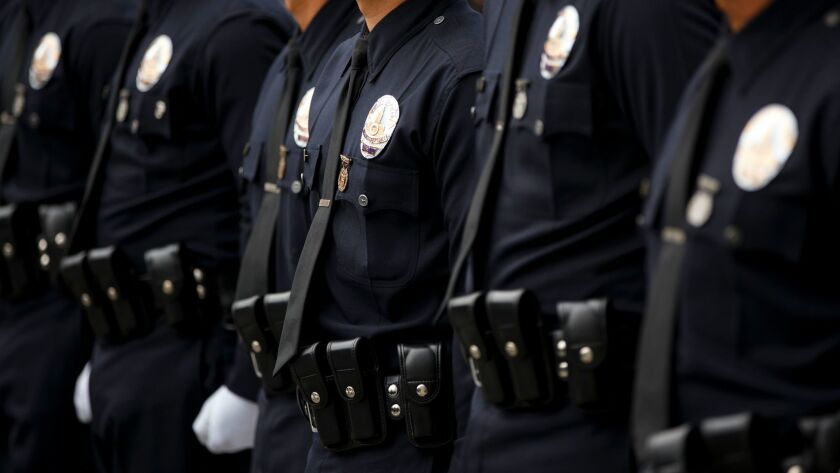 Los Angeles Police Department Recruit Officers from the 12-15 class graduate at the LAPD Parker Cent