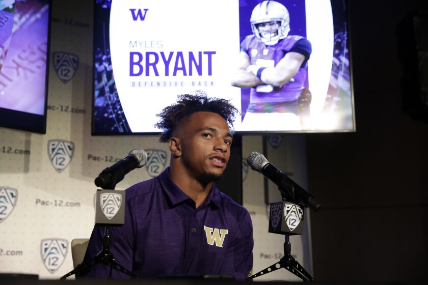 Washington defensive back Myles Bryant answers questions during Pac-12 media day on Wednesday.