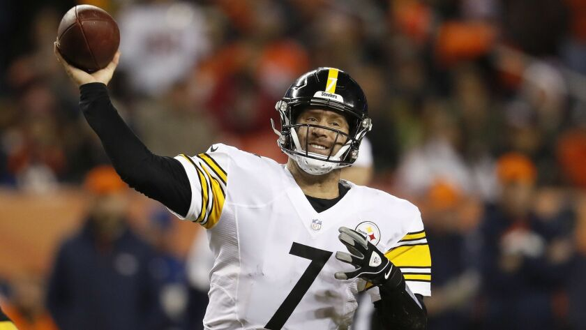 Pittsburgh Steelers quarterback Ben Roethlisberger (7) throws against the Denver Broncos during the