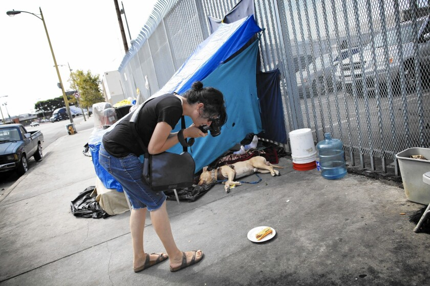 Dutch photographer Desiree van Hoek has dedicated much of her last five summers to shooting what she describes as the beauty and humor beneath the grit and misery of L.A.'s skid row.