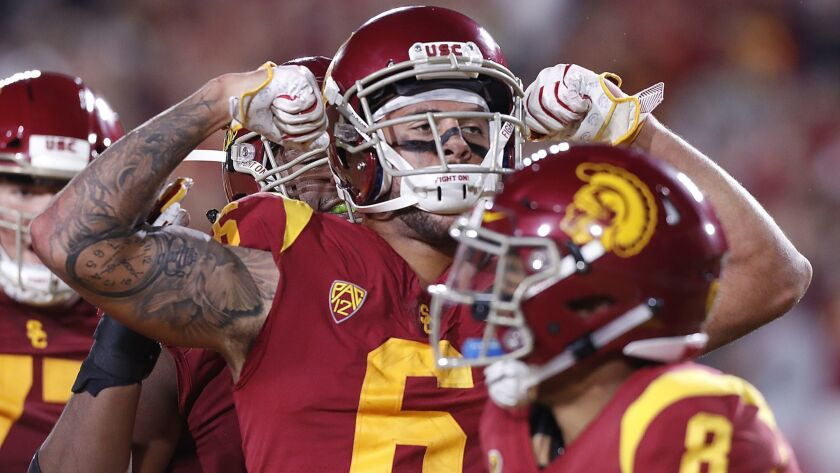 LOS ANGELES, CALIF. - OCT. 13, 2018. USC receiver Michael Pittman celebrates after scoring his seco