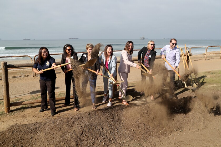 State Assemblywoman Cottie Petrie-Norris, center, with other officials at Bluff Top Park improvements groundbreaking.