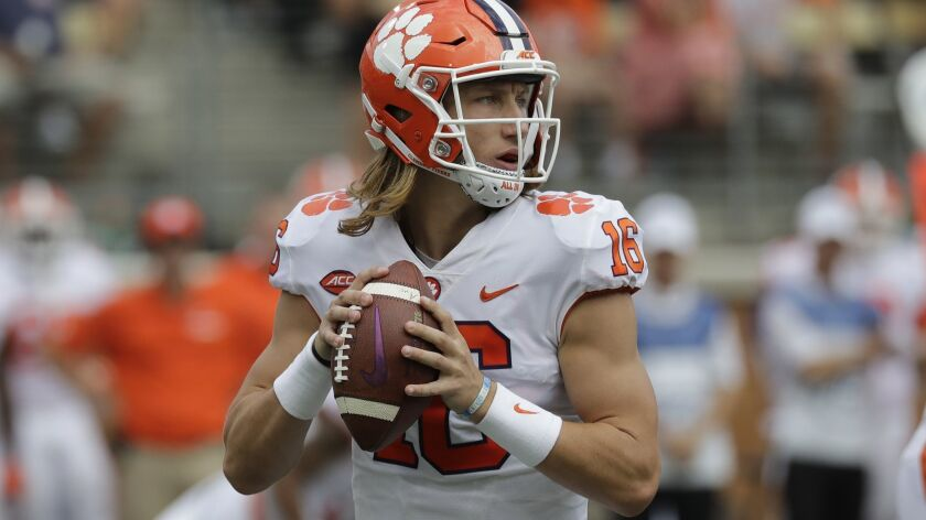 Clemson's Trevor Lawrence looks to pass against Wake Forest in October 2018.