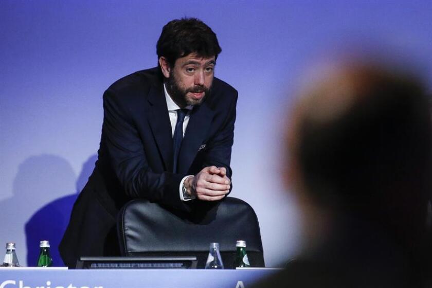 Los clubes estarán representados en las charlas por el consejo de la Asociación Europea de Clubes, un organismo liderado por Andrea Agnelli (imagen), el presidente de Juventus, que representa a 232 equipos europeos. EFE/Archivo