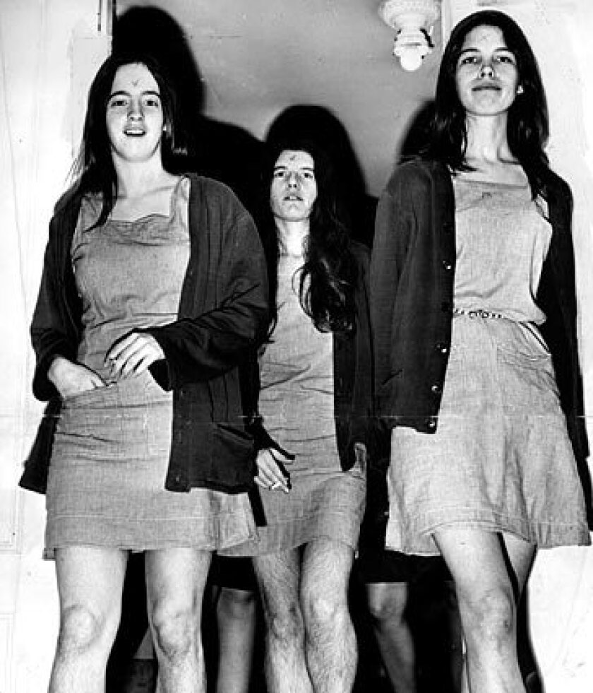 Manson followers Susan Atkins, left, Patricia Krenwinkel and Leslie Van Houten head into court in 1970.