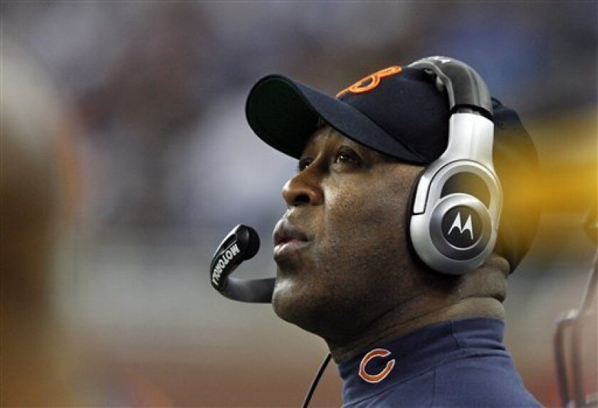 Chicago Bears head coach Lovie Smith is seen during the first quarter of an NFL football game against the Detroit Lions in Detroit, Sunday, Jan. 3, 2010. (AP Photo/Carlos Osorio)