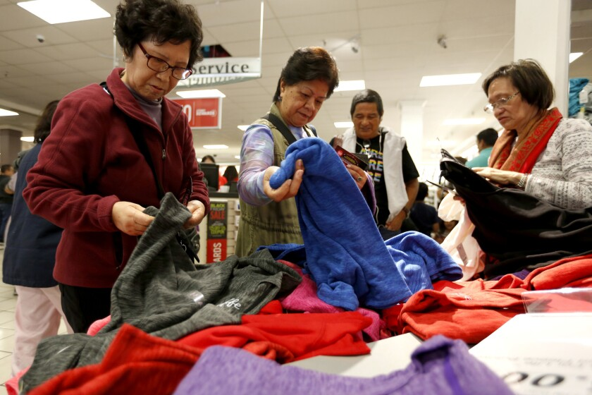 Deal hunters begin the holiday shopping season at JCPenney at Westfield Culver City.