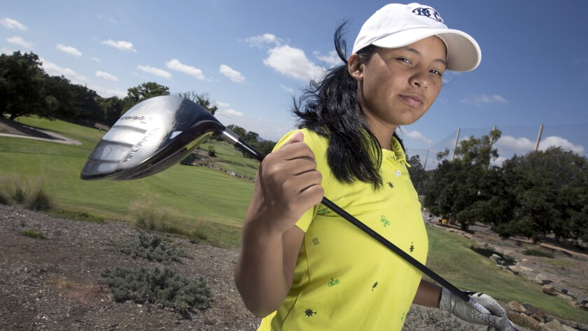 Pratima Sherpa poses for a photo at Los Robles Golf Course in Thousand Oaks.