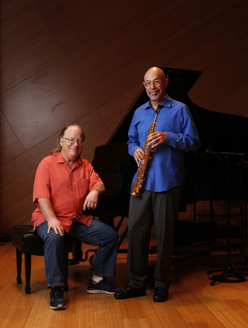 Joe Garrison (left) and Kamau Kenyatta are good friends and collaborators. They will perform a joint concert at UC San Diego's Conrad Prebys Music Center's Experimental Theater on May 15.