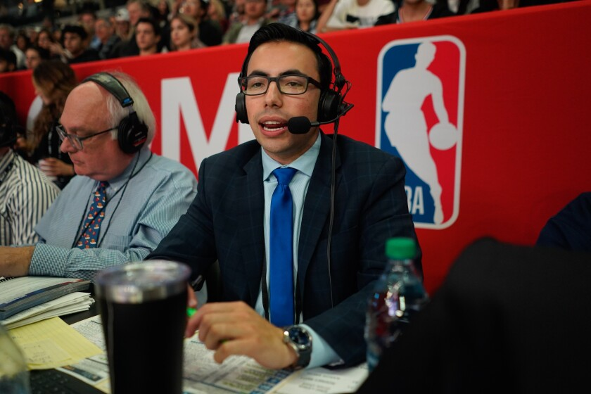 Clippers radio broadcaster Noah Eagle does play-by-play.