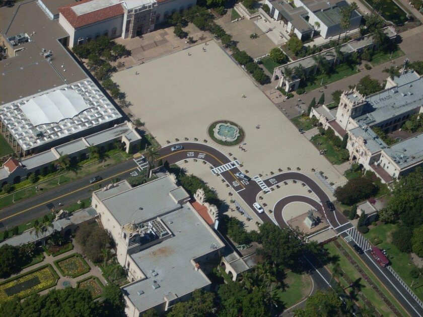 Balboa Park's Plaza de Panama has a new surface -- and no cars -- in a pedestrian-only experiment completed this week. A city photographer captured this aerial view from a police helicopter.