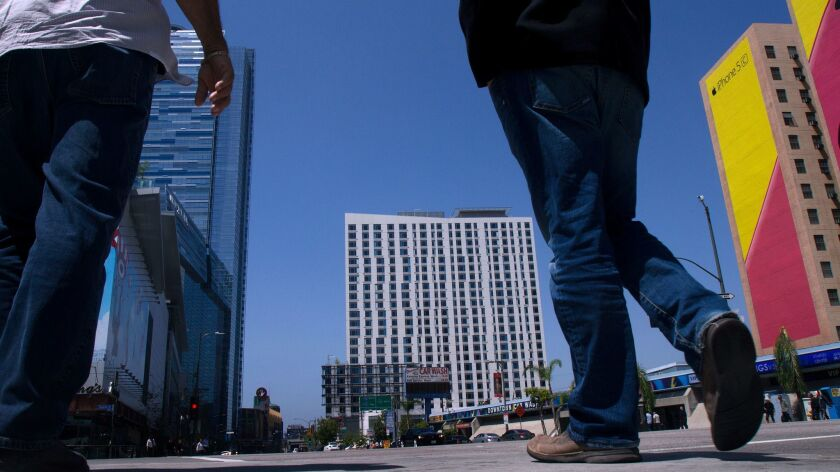 LOS ANGELES CA April 16, 2014 -- The new Marriott Courtyard And Marriott Residence Inn, right, stan