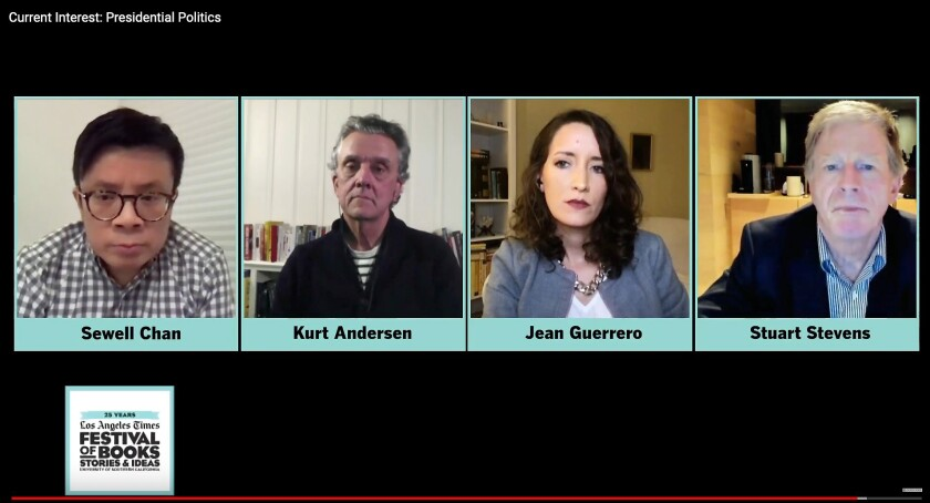Kurt Andersen, Jean Guerrero, and Stuart Stevens on a Zoom screen with L.A. Times' Editorial Page Editor Sewell Chan.