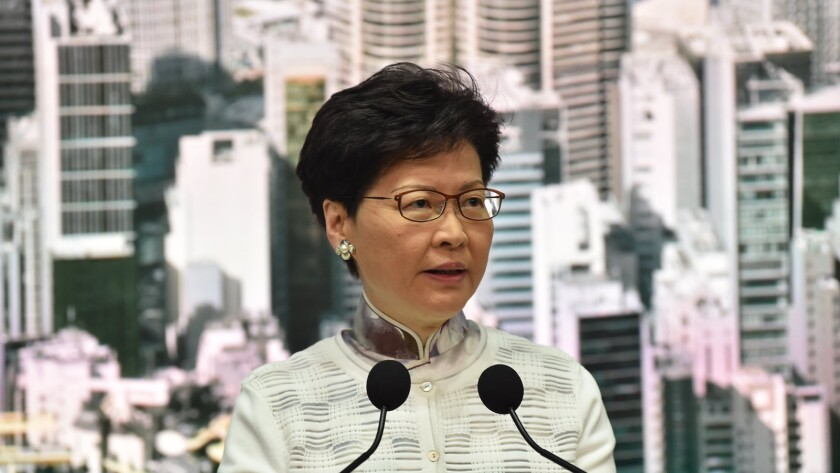 Chief Executive Carrie Lam speaks Saturday at a news conference in Hong Kong.