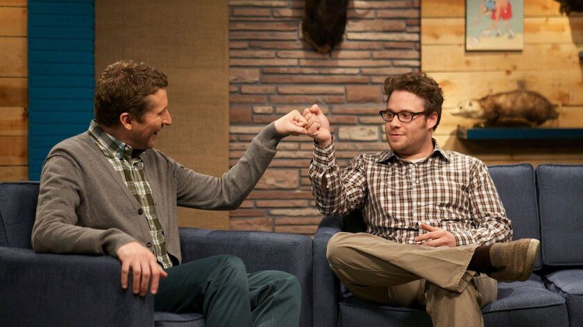 """Host Scott Aukerman, left, and guest Seth Rogen in a first-season episode of """"Comedy Bang! Bang!'"""