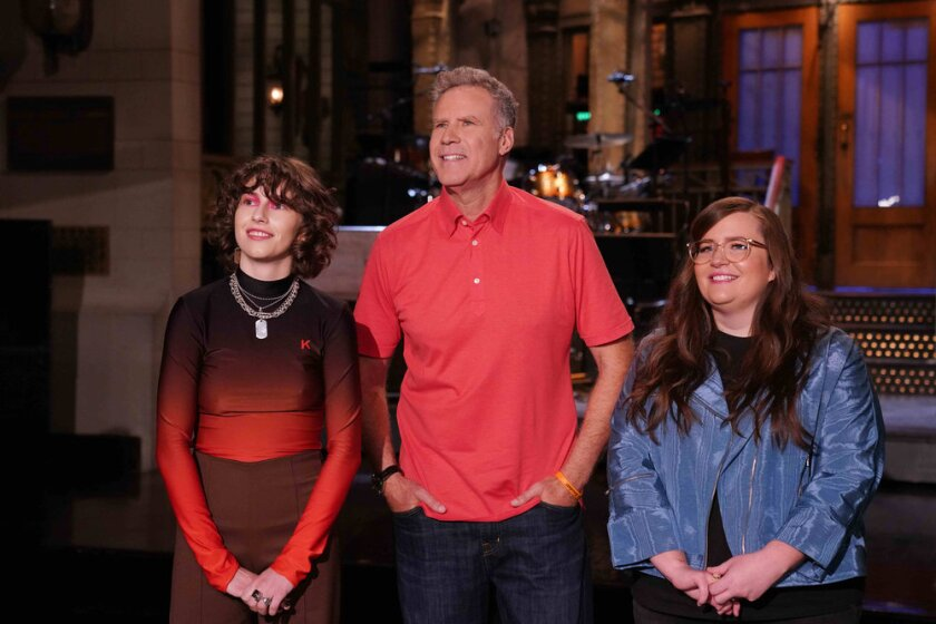 """""""Saturday Night Live"""" musical guest King Princess, left, host and alumnus Will Ferrell and current cast member Aidy Bryant."""