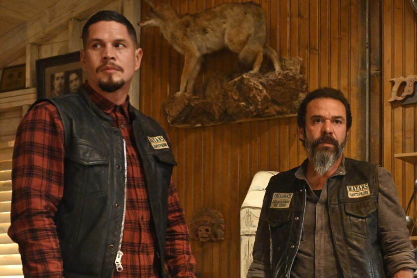 """JD Pardo and Michael Irby survey the scene in """"Mayans M.C."""""""