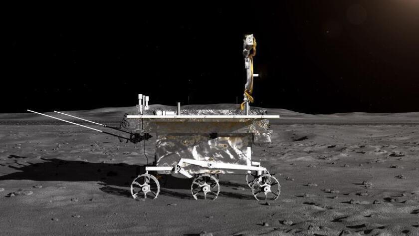 Impresión artística facilitada por el Centro de Ingeniería Espacial y Exploración Lunar de la Administración Nacional Espacial de China (CNSA) hoy, 2 de enero de 2019, del vehículo lunar de la sonda lunar Chang'e-4.EFE