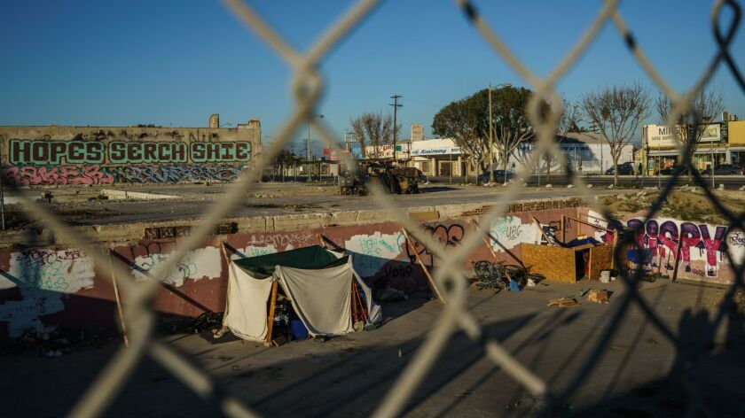 LOS ANGELES, CALIF. -- WEDNESDAY, FEBRUARY 7, 2018: Homeless encampment in a property owned by Neigh
