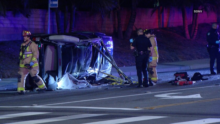 A 16-year-old boy was killed and seven other teens were injured in a rollover crash in Carlsbad early Wednesday morning.