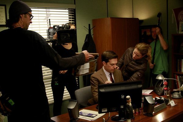 """""""The Office"""" will cap its nine-season run on NBC in May with a one-hour farewell. Ed Helms is prepped for a shoot."""