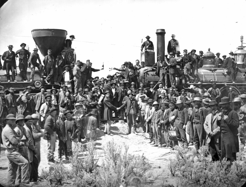 Andrew J. Russell, East and West Shaking Hands at Laying Last Rail, 1869. Imperial collodion glass p