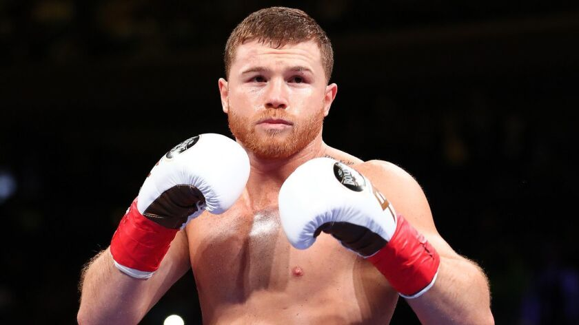Canelo Alvarez comes out of his corner to fight Rocky Fielding on Dec. 15 in New York City.