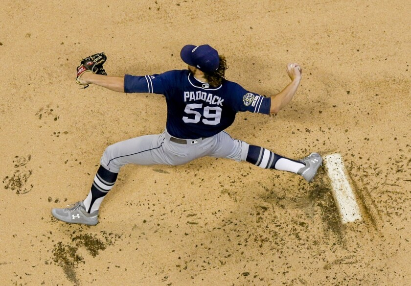 Chris Paddack throws during the first inning of Tuesday's game against the Milwaukee Brewers at Miller Park.