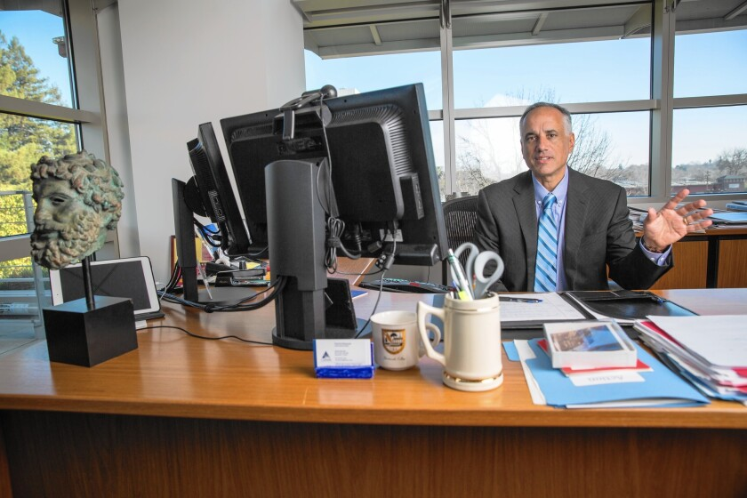 """""""We have been rewarded appropriately for the risks that we took,"""" said Ted Eliopoulos, CalPERS' chief investment officer. Above, Eliopoulos at the pension fund's Sacramento headquarters in January."""