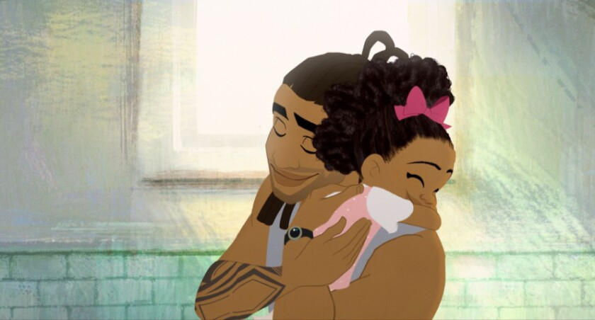 """A scene from the Oscar-nominated animated short """"Hair Love,"""" directed by Matthew A. Cherry."""