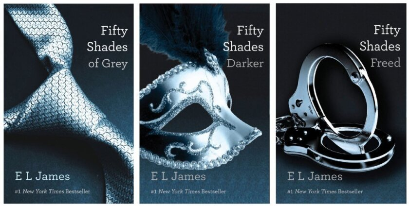 """This file combo made of book cover images provided by Vintage Books shows the """"Fifty Shades of Grey"""" trilogy by bestselling author E L James."""