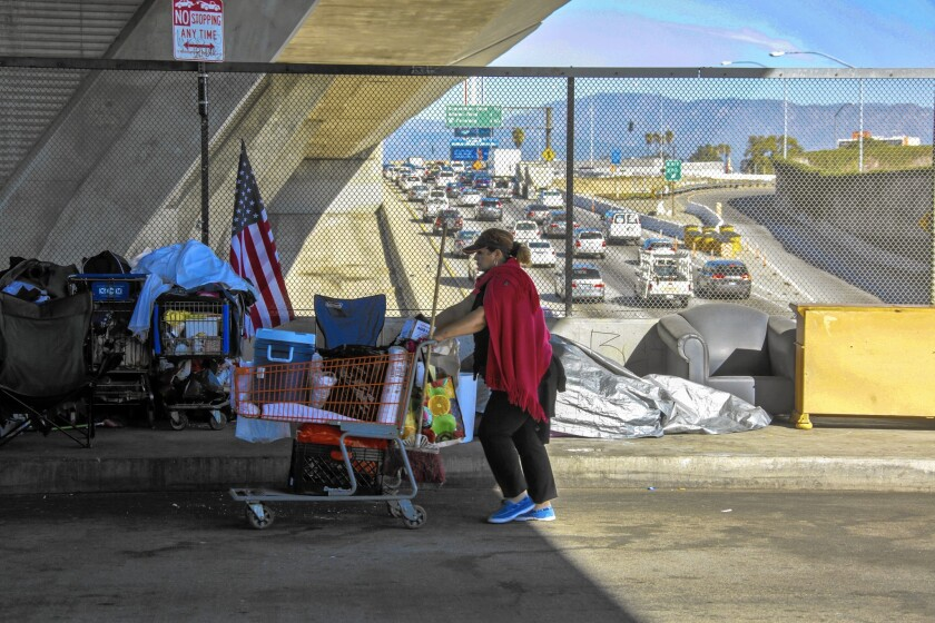 A homeless woman walks the 42nd Street bridge over the 110 Freeway in Los Angeles. The city and county have the nation's largest population of chronically homeless people, a federal study has found.